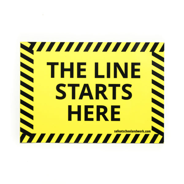 The Line Starts Here floor graphic