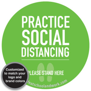 Practice Social Distancing - Please Stand Here Sign